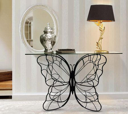 Great Home Reflections Indoor Outdoor Butterfly Console Table   Page 1 U2014 QVC.com