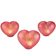 As Is Set of 3 Illuminated Mercury Glass Hearts by Valerie - H213842
