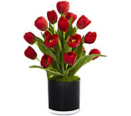 Tulips in Black Glossy Cylinder by Nearly Natural - H300943