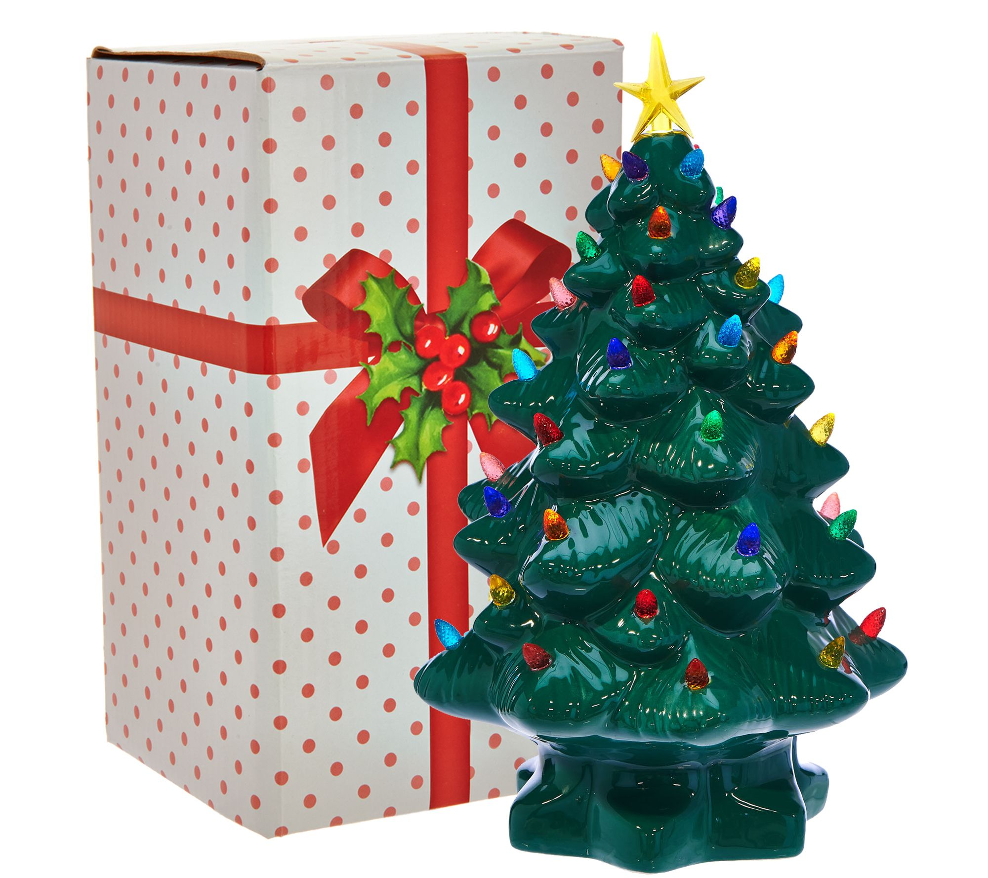 mr christmas 14 nostalgic tabletop tree w super bright led lights page 1 qvccom - Nostalgic Christmas Decorations