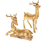 Set of 2 Sitting and Standing Antiqued Deer by Valerie - H212444