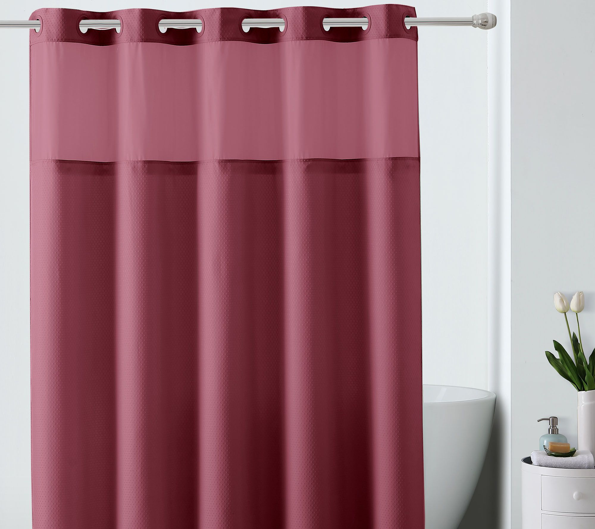 Hookless Jacquard Shower Curtain W Built In Liner