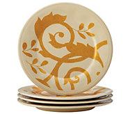 Rachael Ray Gold Scroll 4-Piece Round AppetizerPlate Set - H290244