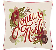 Kathy Ireland Joyeux Noel Natural 16 x 16 Throw Pillow - H301644