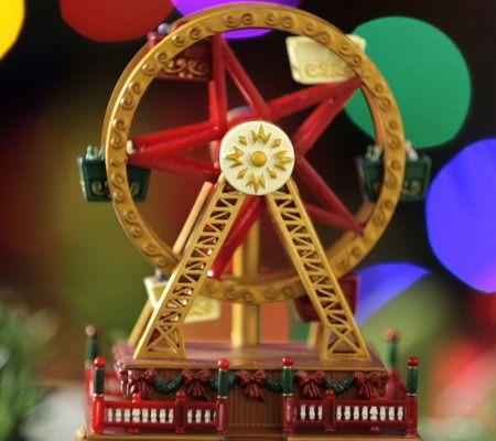 Christmas Ferris Wheel Music Box.Mr Christmas Set Of 2 Animated Carousel And Ferris Wheel Qvc Com