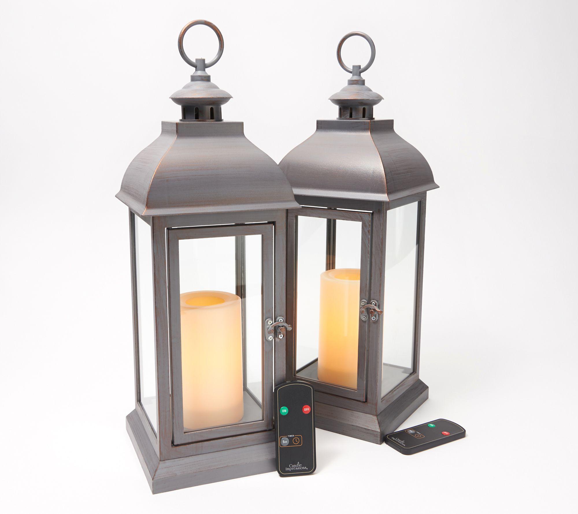 Candle Impressions Indoor Outdoor Set Of 2 15 Lanterns Qvc Com