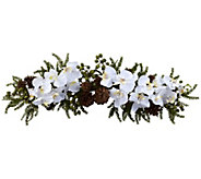 30 Phalaenopsis Orchid & Pine Swag by Nearly Natural - H302645