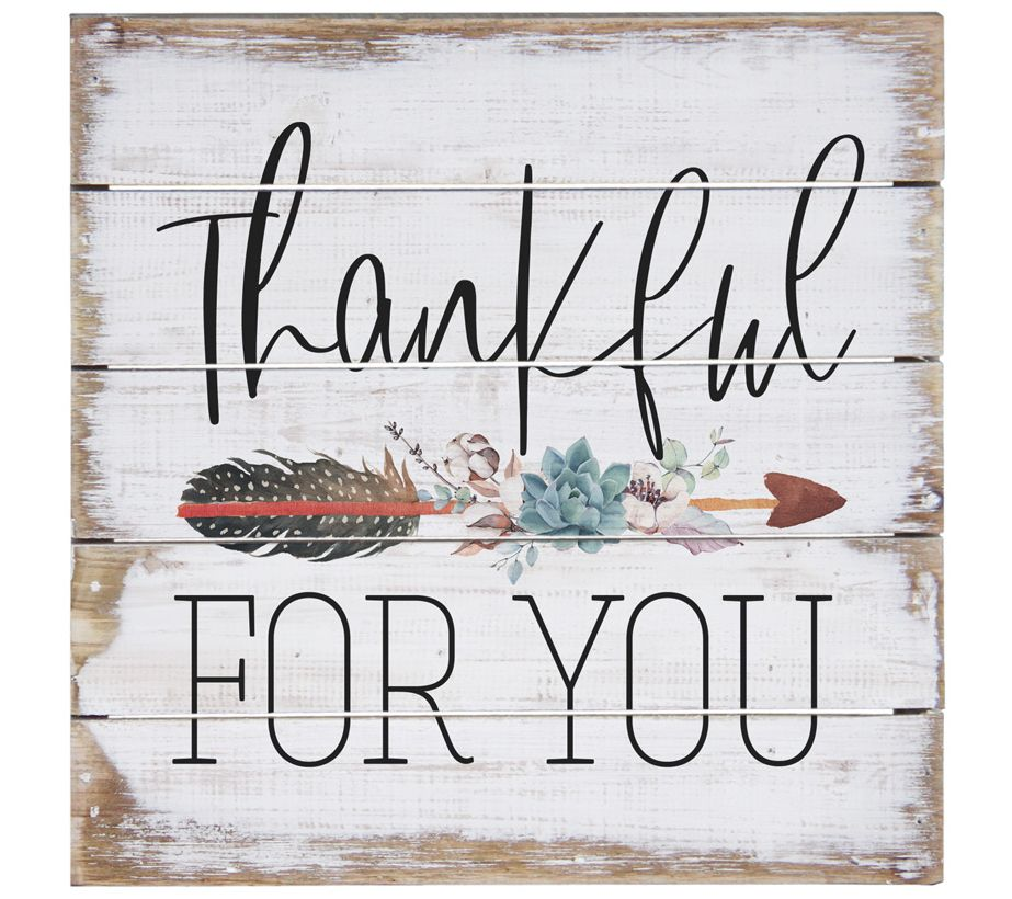 "Rustic wooden ""Thankful for You"" sign"