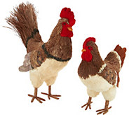 Anniversary 2pc Rooster & Hen Sisal Decor Figures by Valerie - H213747