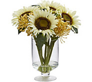 12 Sunflower Sedum Arrangement in Vase by Nearly Natural - H293847