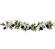 60 Phalaenopsis Orchid & Pine Garland by Nearly Natural - H302647