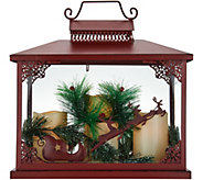 As Is Oversized Holiday Lantern w/ 3 Flameless Candles - H213948