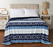 Berkshire Queen Printed Sherpa Blanket with Velvet Soft Reverse - H216648