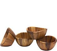 Lipper Acacia Set 4 Wavy Bowls - H292448
