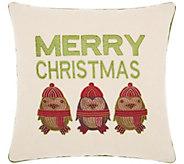 Kathy Ireland Merry Owls Natural 16 x 16 Throw Pillow - H301648