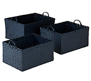 Honey-Can-Do 3-pc Paper Rope Basket Set - Blue - H282749