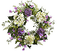 24 Purple and White Hydrangea Berry Wreath byNearly Natural - H297049