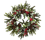22 Holly Berry Wreath by Nearly Natural - H301149