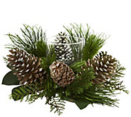 21 Pinecone and Pine Candelabrum by Nearly Natural - H302149