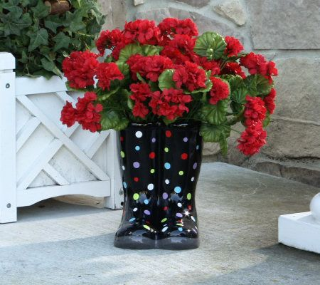 11 Inch Indoor Outdoor Ceramic Boot Shaped Planter By Valerie Page
