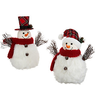 Set of 2 Snuggable Snowmen with Hats