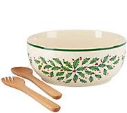 Lenox Holiday Salad Bowl w/ Wooden Servers - H286851