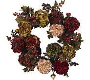 22 Autumn Hydrangea Peony Wreath by Nearly Natural - H293851