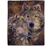 Lavish Home 74 x 91 Heavy Fleece Blanket withPair of Wolves - H302551