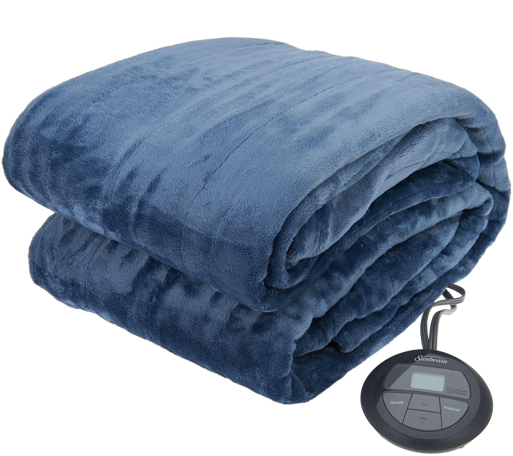 Sunbeam Velvet Plush Heated Blanket — QVC com