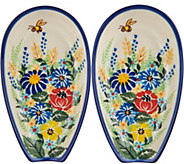 Lidias Polish Pottery Hand Painted Set of 2 Spoon Rests - H211352