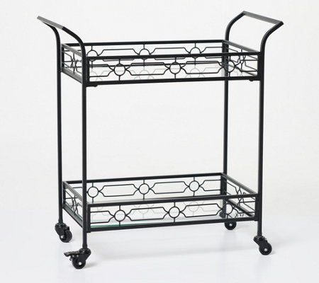 Home Reflections Metal Bar Cart with Tempered Glass