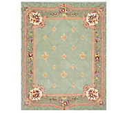 Royal Palace 7x9 Fleur de Lis Wool Rug with Scroll Border - H210153