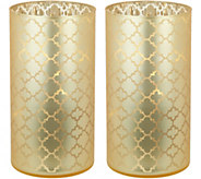 S/2 Illuminated 7.5 Etched Quatrefoil Hurricanes by Valerie - H213753