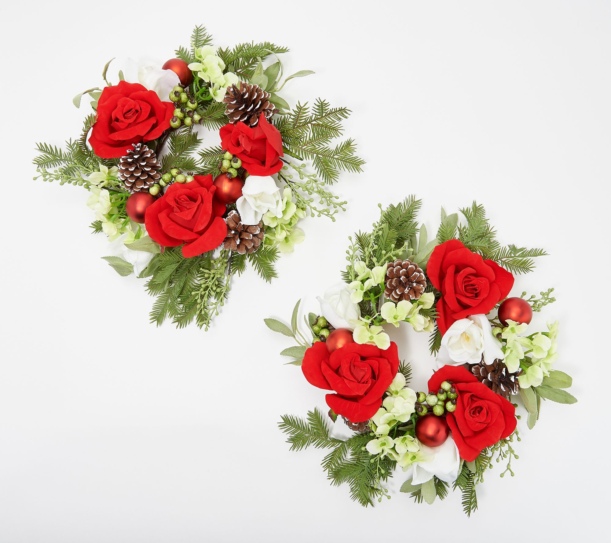 Christmas Candle Rings.S 2 Christmas Rose Hydrangea And Berry Candle Rings By Valerie Qvc Com