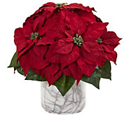 15 Poinsettia Plant in Marble-Finish Vase by Nearly Natural - H300953