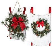 Scott Living 17 or 34 Decorative Sled w/Lit Wreath - H214854