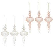 Inspire Me! Home Decor S/6 Blush & Silver Finial Ornaments - H217054