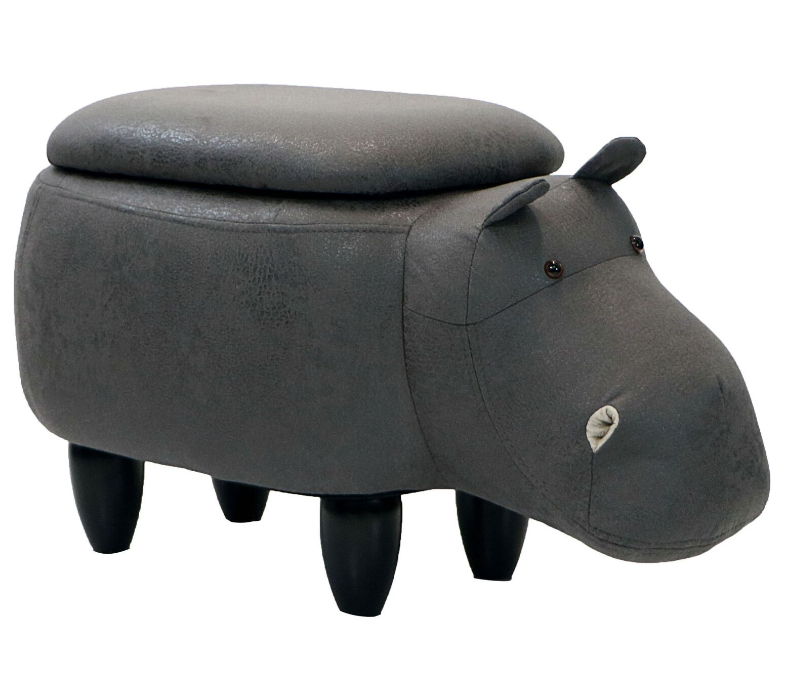 Seat Height Gray Hippo Storage Ottoman