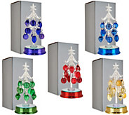 Kringle Express Set of 5 Lit Glass Trees w/ Ornaments & Gift Boxes - H211555