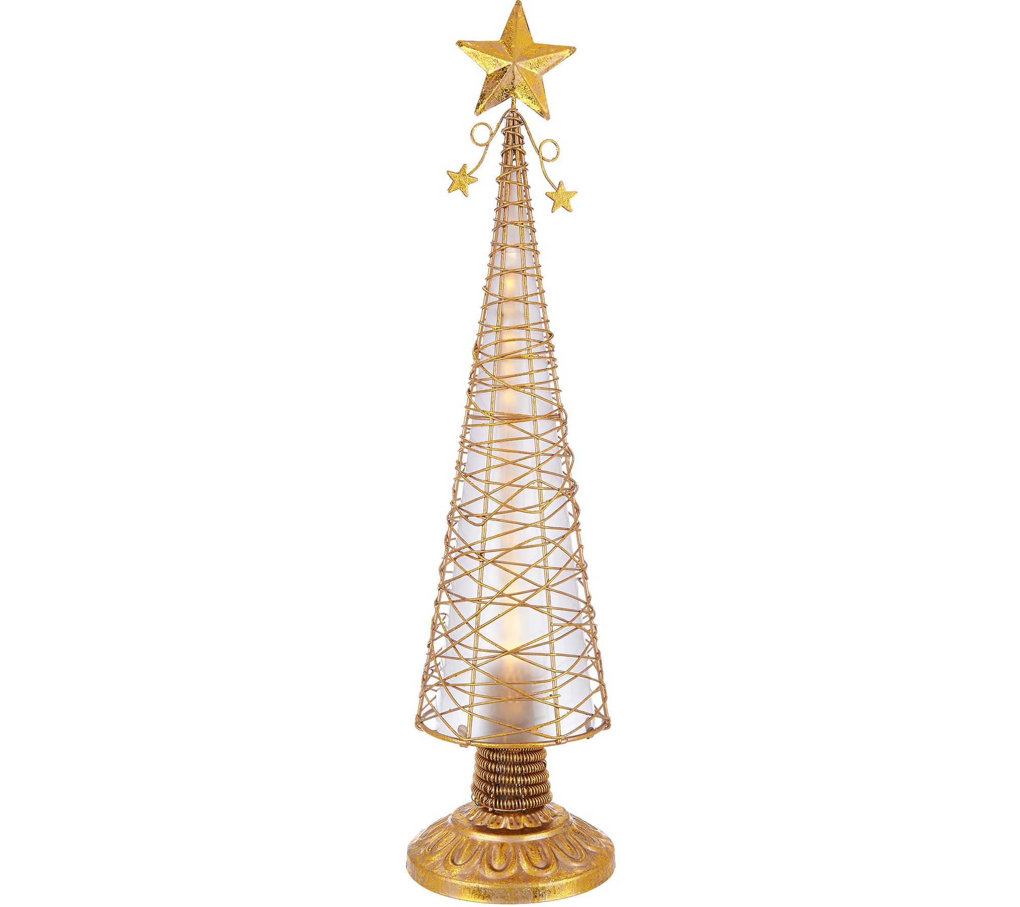 kringle express 18 illuminated chasing lights metal christmas tree with timer page 1 qvccom - Metal Christmas Decorations