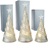 Kringle Express S/3 Illuminated Mercury Glass Trees with Gift Boxes - H213455