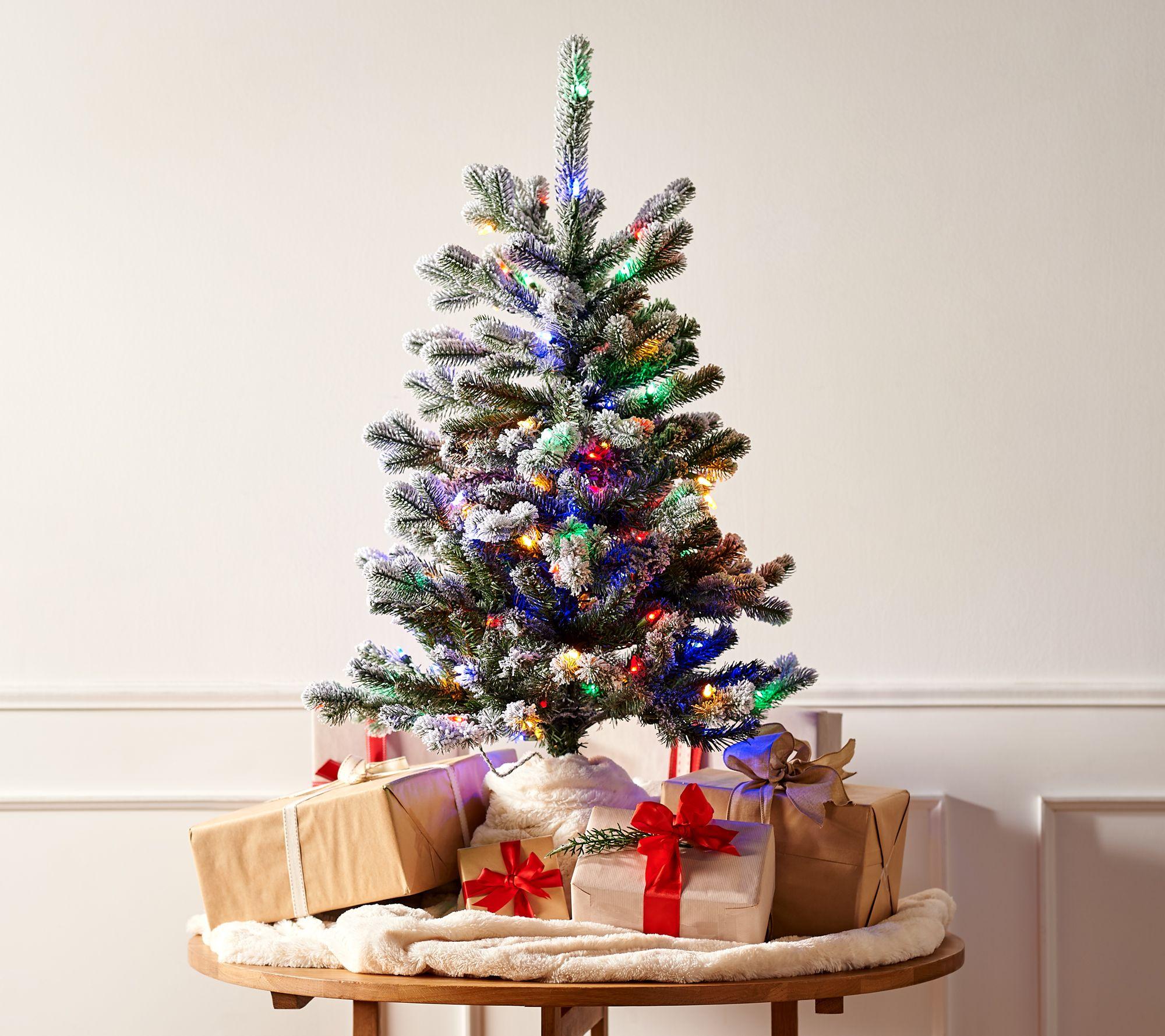 Slim Christmas Tree.3 Prelit Snow Kissed Twinkling Slim Tree By Valerie Qvc Com