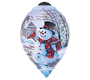 5-1/2 Snowman and Cardinal Ornament by NeQwa - H296555