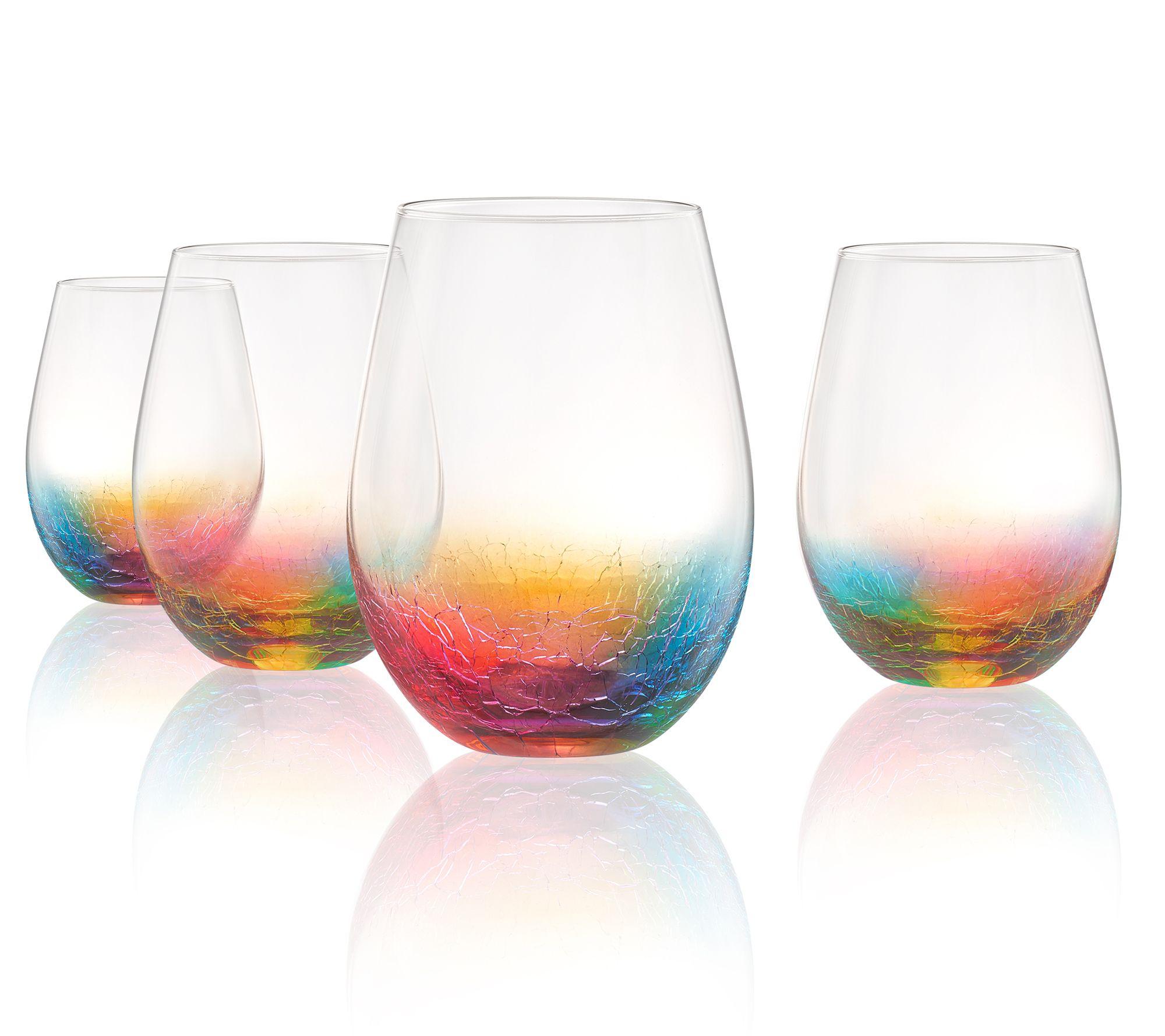 Artland Set Of 4 Neon Stemless Wine Glasses Qvc Com