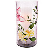 Candle Impressions Crackled Glass Luminary with Floral Decal - H214756