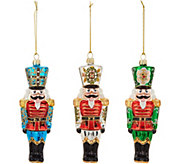 David Dangle Home Collection S/3 Handpainted Nutcracker Ornaments - H211457