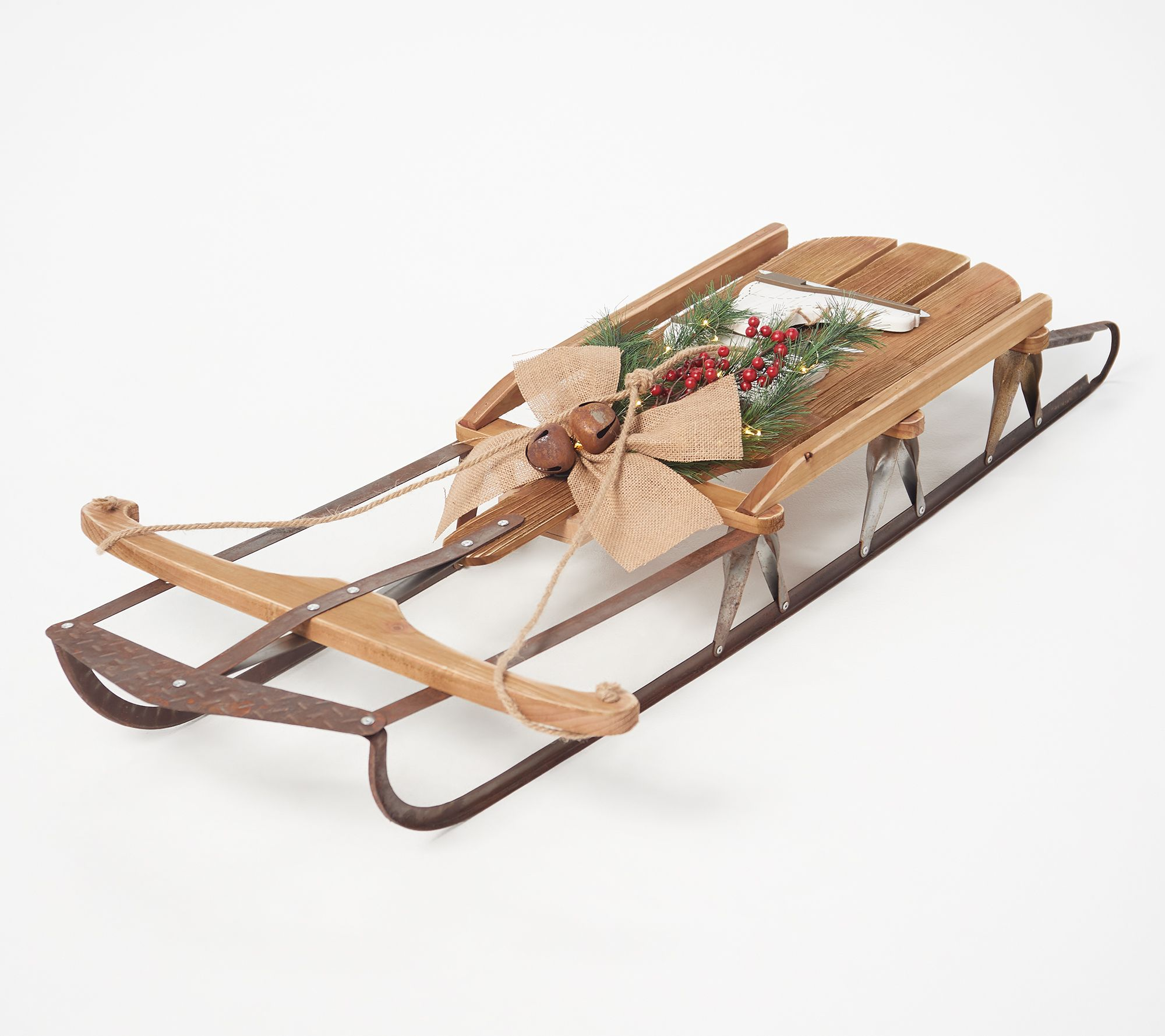 Plow And Hearth Oversized Sled With Hanging Ice Skates Qvccom