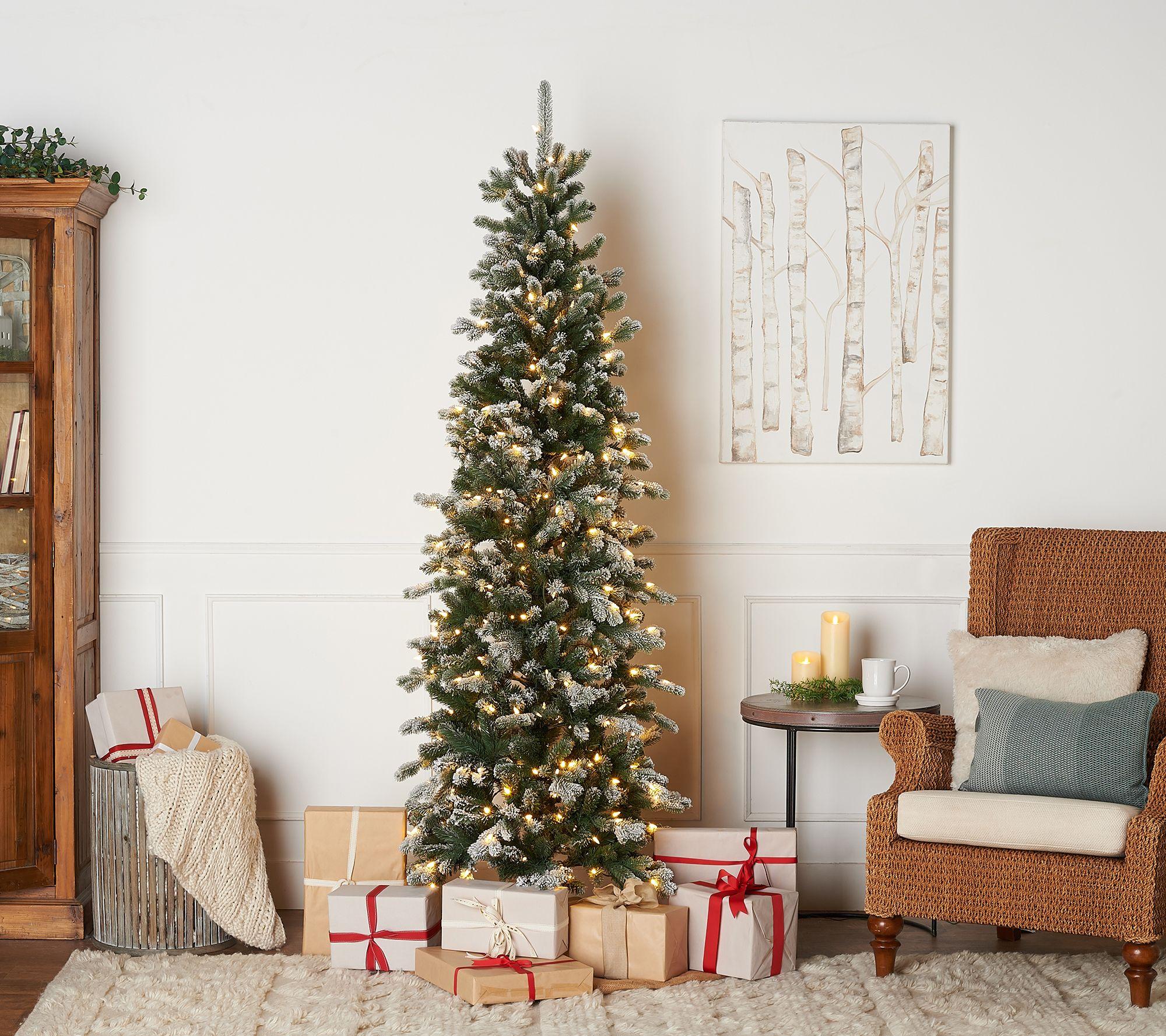 Slim Christmas Tree.7 Prelit Snow Kissed Twinkling Slim Tree By Valerie Qvc Com