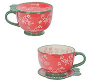 Temp-tations Floral Lace Set of (2) 20-oz Mugs - H303257