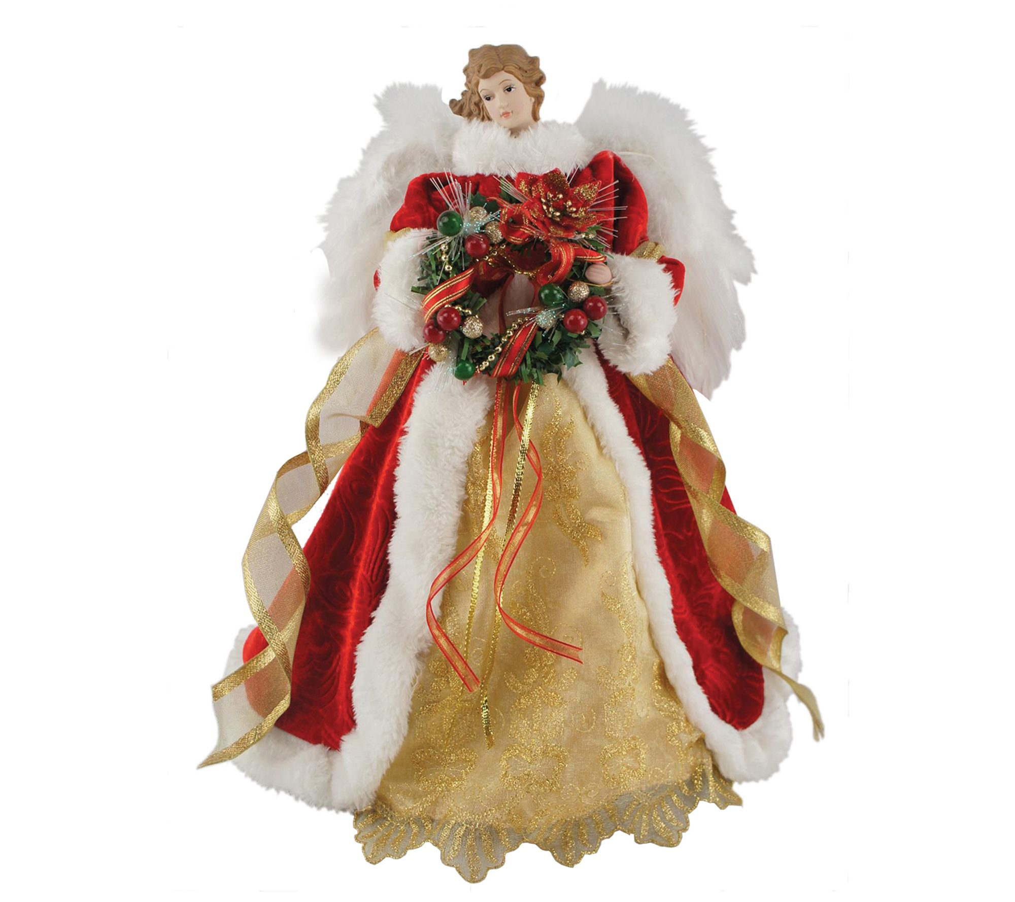 16 Fiber Optic Xmas Angel Tree Topper By Santa S Workshop Qvc Com